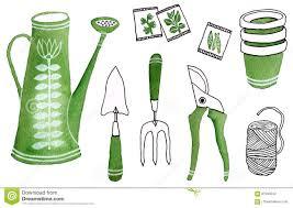 watercolour gardening tools icons stock illustration image 87290242