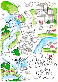 Austin Maps by Hand Painted Wedding Maps Cute And Whimsical Can Be Used For Save