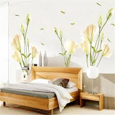 135x97cm wild lily flower tree wall stickers for kids rooms living