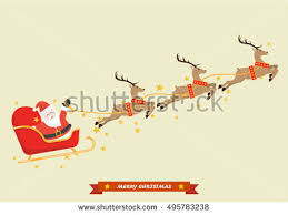 santa claus reindeer sleigh vector illustration stock vector