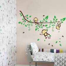 three monkey climb on the vine wall sticker for kids cartoon wall art baby room wall decor monkey climb on the vine wall sticker