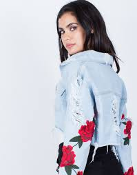 light blue cropped jean jacket patched sleeves crop denim jacket cropped denim jacket rose
