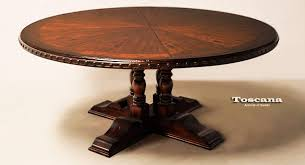 distressed round dining table iron wood
