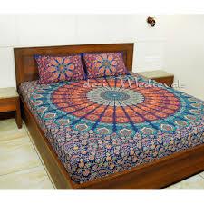 blue green orange mandala boho hippie bedding bedspread with