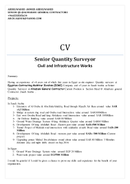 Summary Section Of Resume Resume Of Quantity Surveyor Resume For Your Job Application