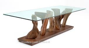 Glass And Wood Dining Tables Organic Modern Dining Table Table Stump Glass