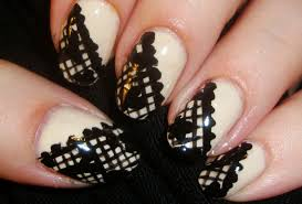 Nail Art Lace Design Feel And Sophisticated With This Black Lace Nail Art Design
