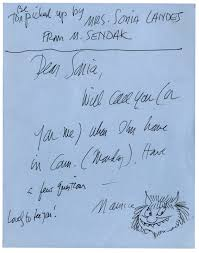 lot detail maurice sendak autograph note signed with a sketch