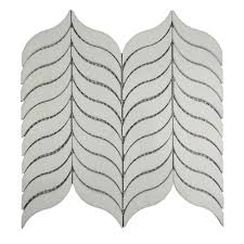 white polished irregular leaf shaped waterjet marble mosaic tile