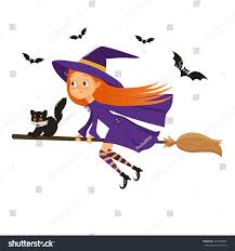 halloween flying witch background halloween holiday cute little witch stock vector 491878822