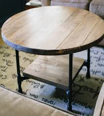 Home Furniture Tables Reclaimed Wood Round Coffee Table With Shelf Home Furniture