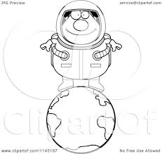 cartoon clipart of a black and white chubby astronaut standing on