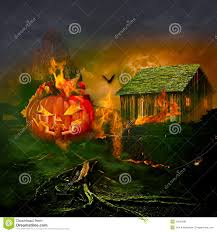 spooky house halloween smiling carved jack o lantern halloween pumpkin burning haunted