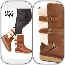 womens ugg becket boots 44 ugg shoes ugg chestnut leather buckle boots from