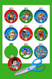 paw patrol character glitter personalized christmas ornament