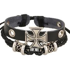 cross bracelet leather images Real leather iron cross bracelet mens or woman rock fashion jpg