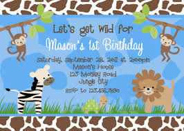 Invitation Birthday Party Card Birthday Invitations Jungle 1st Party Invites Birthday Party
