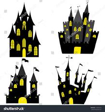 Halloween Silhouettes Window Set Halloween Black Castle Yellow Windows Stock Vector 114072274