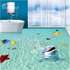 3d bathroom flooring 3d green sea dolphins fishes starfishes pvc waterproof non slip