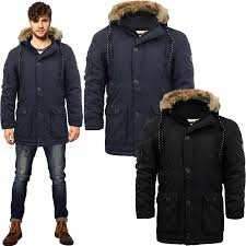 mens crosshatch parka jacket coat padded quilted faux fur lined