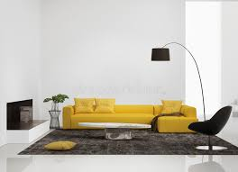 Modern Yellow Sofa Modern Interior With A Yellow Sofa In The Living Room Stock