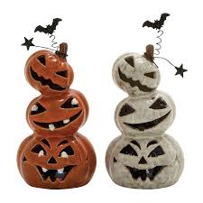 ceramic pumpkins shop woodland imports set of 2 lighted ceramic tabletop pumpkin