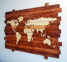World Map Wood Wall Art by Extra Large Rustic World Map Stained Wall Art On Distressed Solid