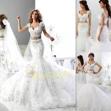 Wedding Dresses Discount Wedding Dresses 2016 White Lace Cap Sleeves Beaded Sweetheart Two