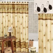 rustic shower curtains moose pinecone designs pine cone