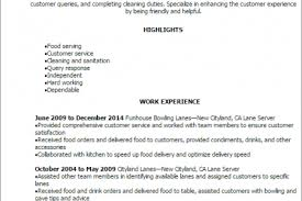 Sample Restaurant Server Resume by Resume Sample Bowling Alley Reentrycorps