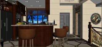 panoramic european style living room restaurant space 3d model max