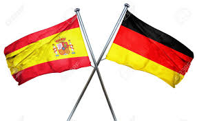 Spainish Flag Spanish Flag Combined With Germany Flag Stock Photo Picture And