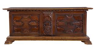 Spanish Colonial Furniture by 19th Century Carved Walnut Coffer Chest C 1870 Belgium From