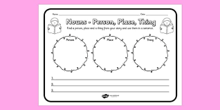 nouns person place thing comprehension worksheet comprehension