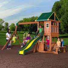 Diy Backyard Swing Set Backyard Discovery Oakmont Cedar Wooden Swing Set Walmart Com