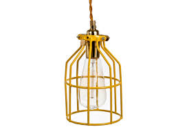vintage inspired industrial metal cage light yellow omero home