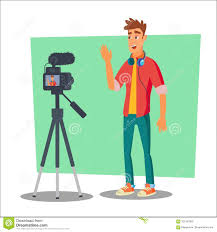 cartoon film video free download video blogger vector cheerful young blogger man vlog concept