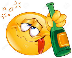 singing emoji drunk emoticon holding an alcoholic drink bottle royalty free