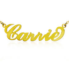 Name Necklace Gold Personalized Carrie Name Necklace Solid Gold