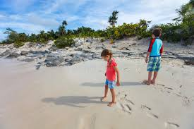 iguana island two kids at beach of iguana island stock image image of brother