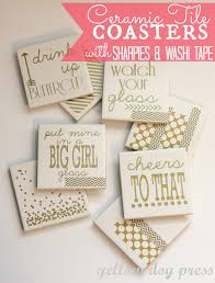 Homemade Coasters Ceramic Tile Coasters With Sharpies U0026 Other Diy Gifts For Mother U0027s