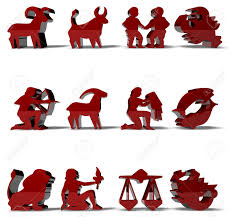 horoscope zodiac signs 3d render in red color stock photo picture