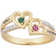 diamond name rings images Personalized 14kt gold over sterling silver couples heart jpeg