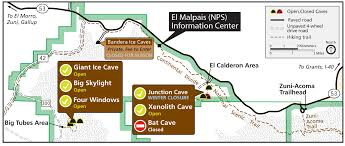 New Mexico Road Closures Map by Lava Tubes And Caving El Malpais National Monument U S