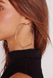 hoop earrings hexagon hoop earrings gold missguided