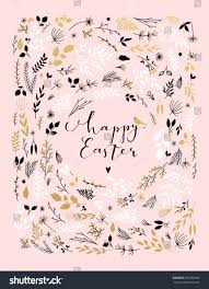 happy easter calligraphy card template flowers stock vector