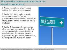 electrical supervisor recommendation letter