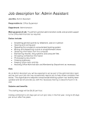 File Clerk Job Description Resume by Job Description For Administrative Assistant In A Medical Office