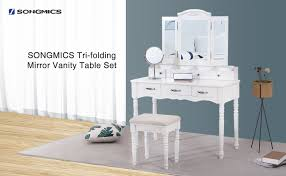 Folding Vanity Table Amazon Com Songmics 7 Drawers Vanity Table Set With Tri Folding