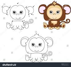 funny cute monkey illustration kids dot stock illustration